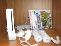 Wii console with fit boards and game