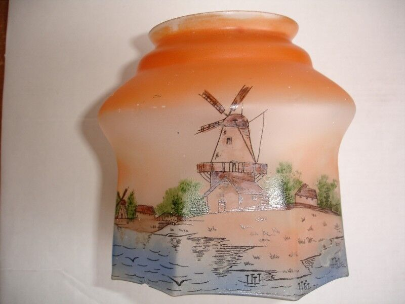Vintage Arts& Crafts Hand Painted Glass Light Shade