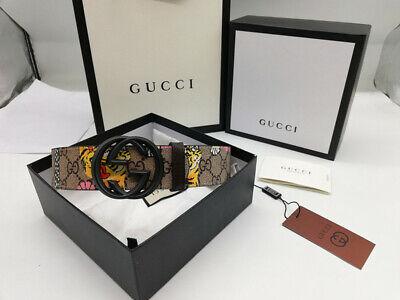 Authentic Gucci  BLACK Men's Tiger Belt  size 90/36 fits 32-36 waist