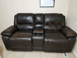 Leather theater reclining couch