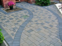 Pavers, Landscape, concrete Stairs form, Retaining wall