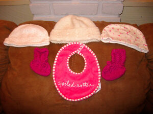 Baby hats, booties, and bib