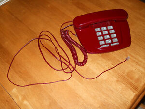 Red Home Phone with Gray Key Pad