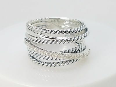 - David Yurman Sterling Silver 925 Crossover Wide Cable Pave Diamond Ring Size 7