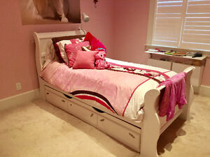 White Single Sleigh Bed with storage drawer below