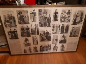 Jan 1893 Young Ladies'Journal Fashion Supplement framed