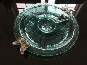 NEVER USED - Teal glass platter with metal  butterflies