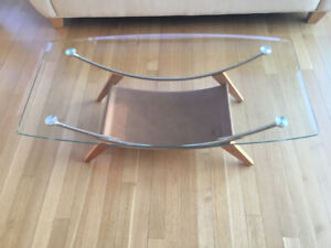 Beautiful Glass, Chrome and Leather Coffee Table