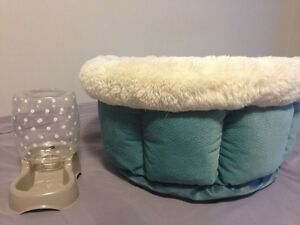 Cute pet bed and water dish