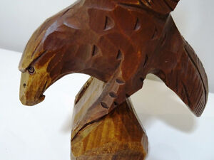 EAGLE hand carved FOLK ART signed beautiful MAN CAVE HUNTER SMAL Cambridge Kitchener Area image 5