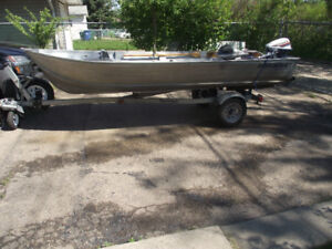 Selling  my1994 14` Harbercraft+9.9 Evinrude+trailer+oars+anchor