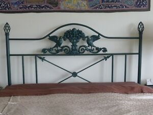 Queen wrought iron headboard with optional frame and box spring