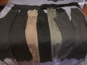 Lot of Maternity pants, 1 skirt and 2 tights. XXsp Xsp & Sm
