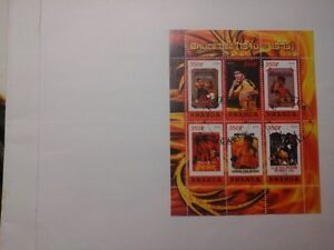 Timbres Stamps collection hommage à Bruce Lee Rwanda 2010