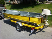 14ft Aluminum boat, Johnson seahorse motor and trailer