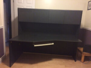 Black office desk with overtop shelf  - 10/10 condition