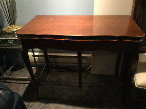 Antique folding dining room table & chairs