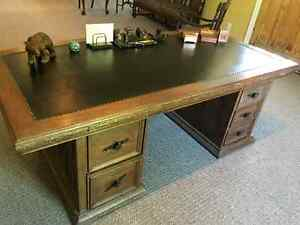 Early 20th Century Solid Oak 72 inch Leather Top Executive Desk Kingston Kingston Area image 5