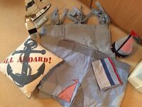 Laura Ashley Gingham curtains ,sailing bedding set & accessories