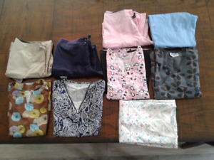 4 pairs of scrubs and 2 tops