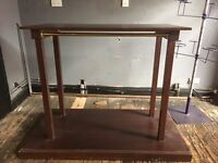 Free standing wooden double clothes rail retail display