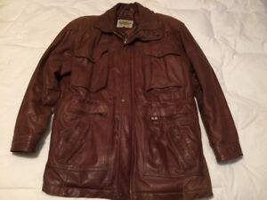 MENS 3/4 LENGTH BROWN LEATHER JACKET