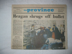 HISTORIC NEWSPAPERS-Pres. Reagan shot