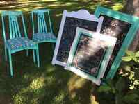 Chalk board frames and two chairs  $50.00 for all.