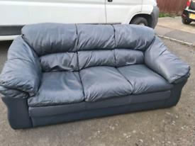Black blue lovely leather 3 setter sofa