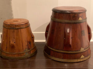 Chinese rice buckets.  Authentic from China.