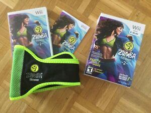 Wii Zumba Fitness 2 + ceinture - 15$