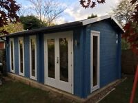 Brand new log cabin 3m by 5.7m, 40mm logs, double glazed fully fitted in your garden