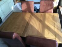 Morris oak dining table and chairs