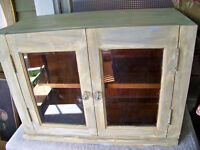 ANTIQUE CABINET glass doors and knobs