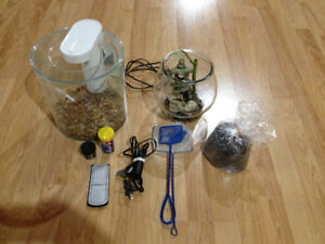 360 Fish tank, Beta home and bowl, accessories