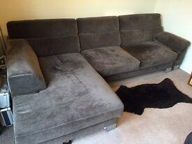 Expandable Chaise Longue Taupe Sofa.