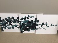 White and Teal Canvas Art