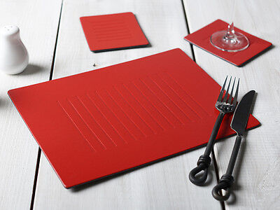Set of 6 RED EMBOSSED Leatherboard PLACEMATS & 6 COASTERS