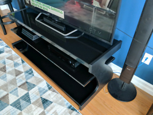 "Sonax Black Glass and Wood 65"" Media / Tv Stand"
