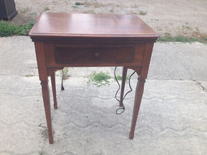 Couch, end table, desk, sewing machine
