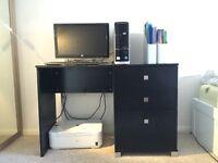 Black computer desk CHEAP and GOOD condition. OPTIONAL COMPUTER SET