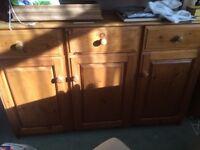 Solid pine 3door side board & a 1door single cupboard