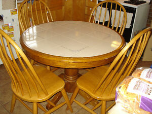 Gorgeous Tile-Top Dining Set, Table W/ 4 Windsor Chairs