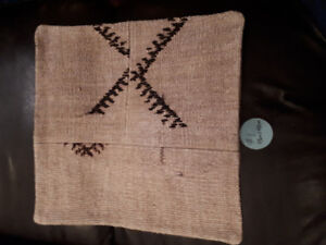 Vintage handmade wool and cotton pillow cover.