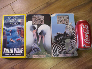 3 VHS video reportage national géographic tsunami trials of life