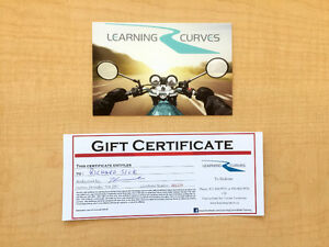 Motorcycle Training Gift Certificate (Learning Curves) For Sale
