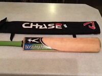 Signed English willow cricket bat with case