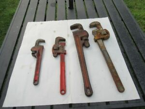 4 PIPE WRENCHS 2X18 INCHES $12.00 EACH