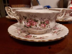 Royal Albert - Lavender Rose - soup bowls with underplates