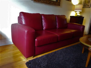 """Chesterfield"" top quality leather couch and loveseat, can deliv"